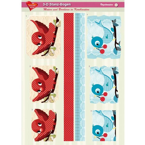 3-D Stanz-Bogen, Vögel, DIN A4, Motiv 4