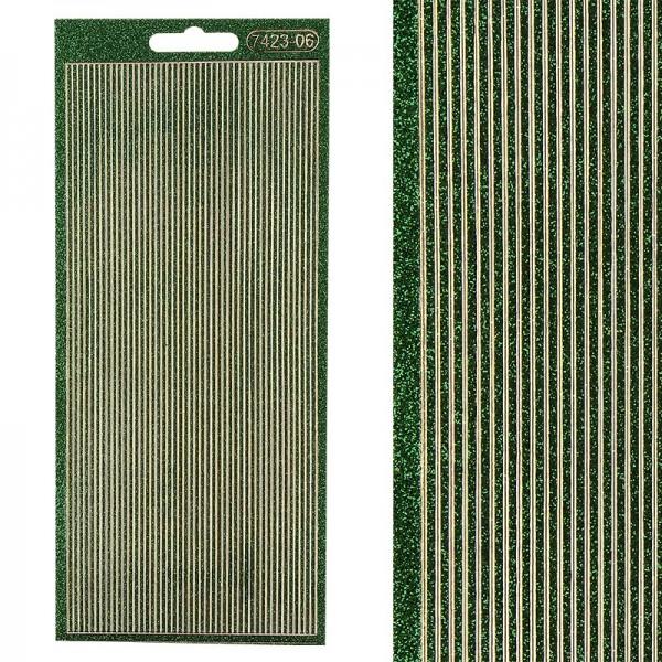 Microglitter-Sticker, Linien, 2mm, grün