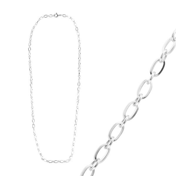 Glieder-Halskette, aus Edelstahl, Design 1, 50cm lang, Stärke: 3,5mm, silber