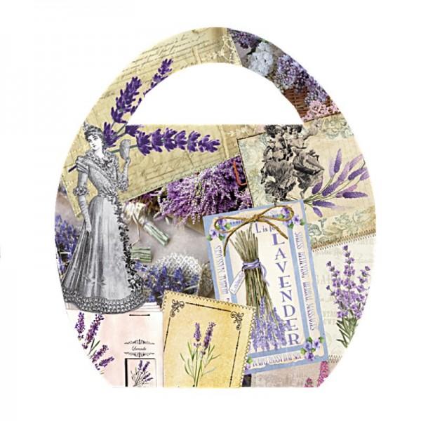 """Deko-Bild """"Ei-Tasche Vintage"""", mit Griff, 20x23cm, violett, 2 Stück"""