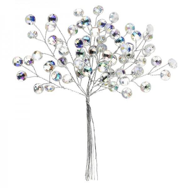 Deko-Kristallzweige, rund, 16cm, silber hinterlegt, klar, irisierend, 10 Stück