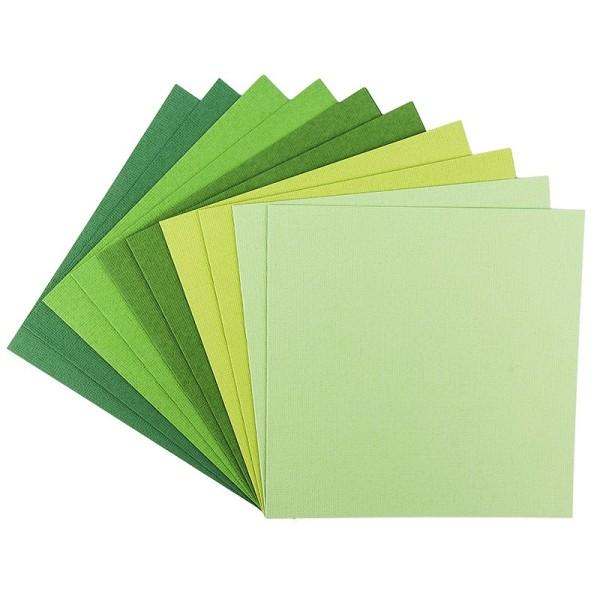 """Grußkarten """"Anna"""" in Leinen-Optik, 16x16cm, 5 Farben, Grüntöne, inkl. Umschläge, 10 Stück"""