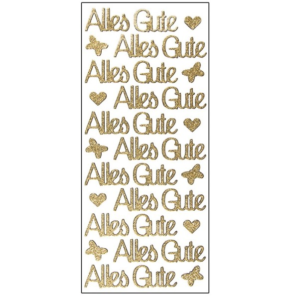 Microglitter-Sticker, Alles Gute, gold