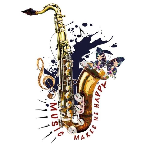 Color Bügeltransfer, DIN A4, Saxophon