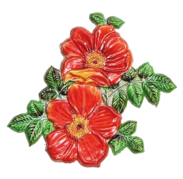 Wachsornament Anemone, farbig, geprägt, 6 x 7 cm
