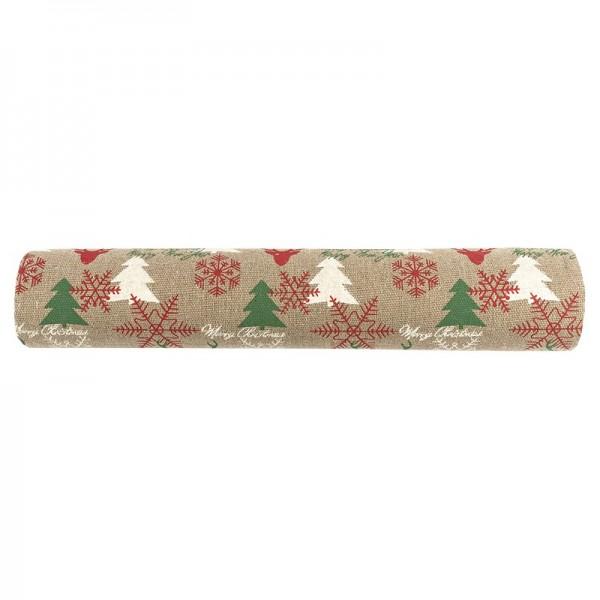 Deko-Stoff, Weihnachten, 28cm breit, 3m lang, auf Rolle, hellbraun