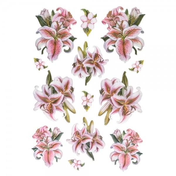 3-D Relief-Sticker, Elegante Lilien 3, 21cm x 30cm, verschiedene Größen, selbstklebend