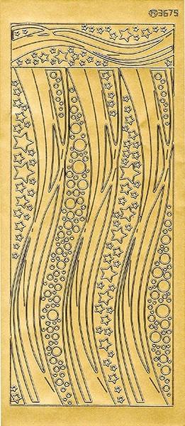 Sticker, Schwung-Linien Sterne, Perlmuttfolie, gold