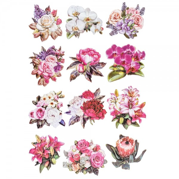 3-D Relief-Sticker, Blumen & Vasen 1, verschiedene Größen, selbstklebend