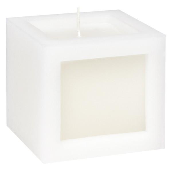 Würfel-Kerze, 8,8 x 7,8 x 8,8 cm, weiß