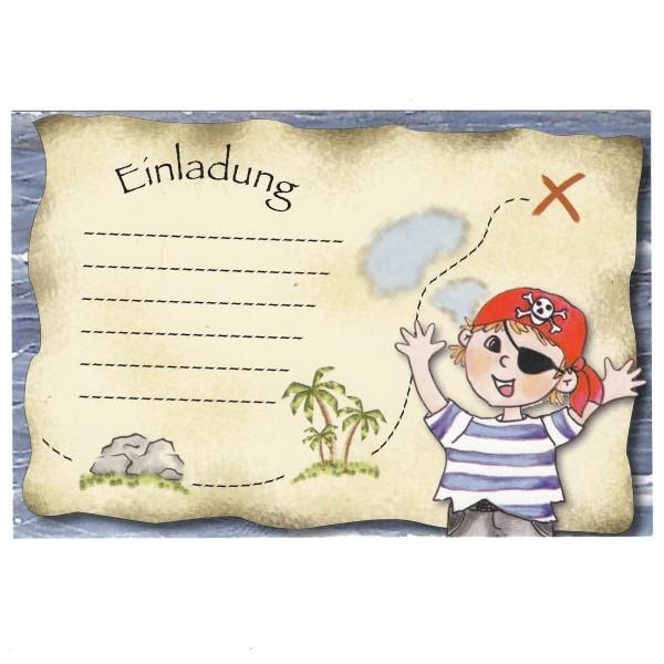 Einladungskarte Piratenparty, 15 x 10 cm, Design 1