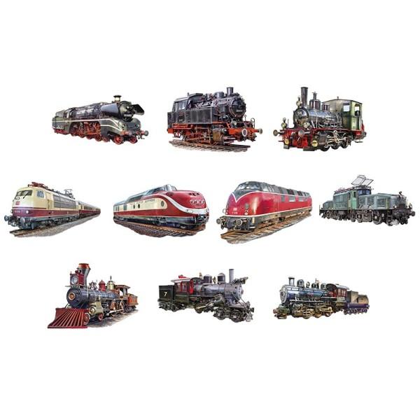 3-D Motive, Historische Lokomotiven, 4,5-10,5cm, 10 Motive