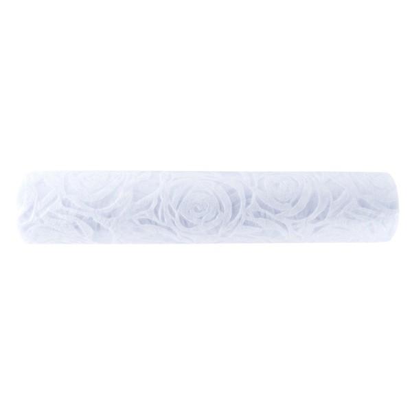 Relief-Vlies Deluxe, Rosen, 30cm breit, 5m lang, auf Rolle, weiß