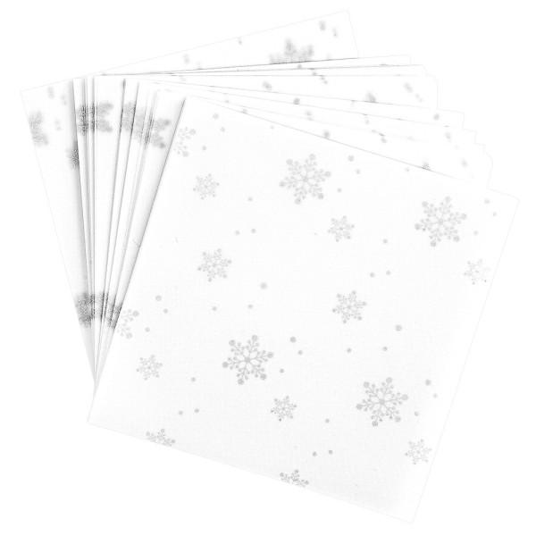 Faltpapiere, transparent, Eiskristalle, 10cm x 10cm, 110 g/m², weiß/silber, 100 Stück