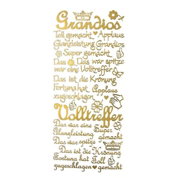 """Sticker, Schriften, """"Super/Applaus"""", uvm., Perlmuttfolie, gold"""