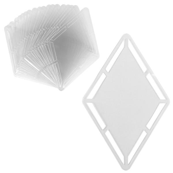 Windradfolien-Scheiben, mit Stanzornamentik, Raute, 15,1cm x 23,6cm, 500µ, transparent, 20 Stück