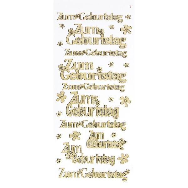 Sticker, Zum Geburtstag, Diamantfolie, gold