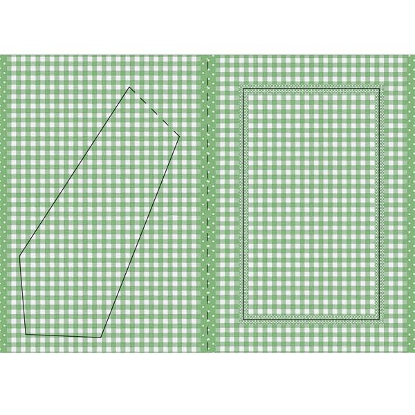 Bilderrahmen-Karte, grün/weiß kariert, B6