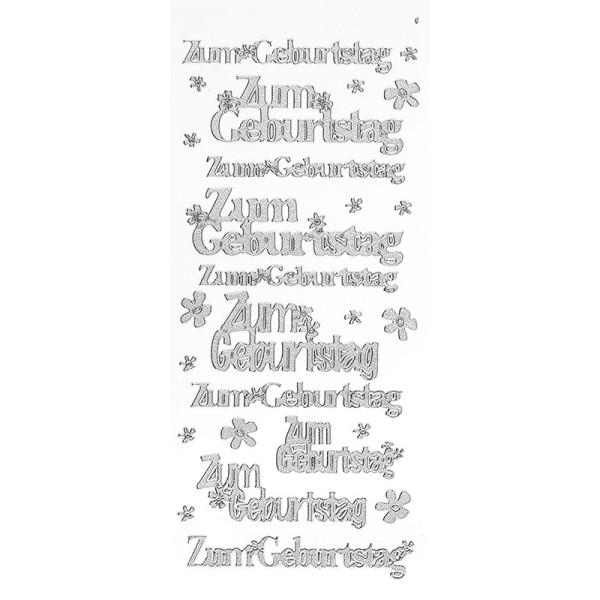 Sticker, Zum Geburtstag, Diamantfolie, silber