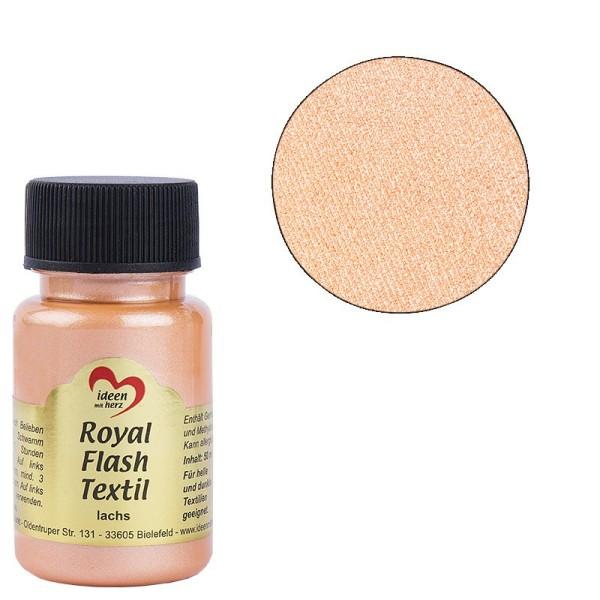Royal Flash Textil, Glitzer-Metallic-Farbe, 50 ml, lachs