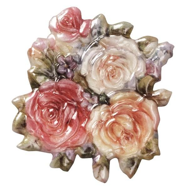 Wachsornament Blumenvasen 1, farbig, geprägt, 7cm