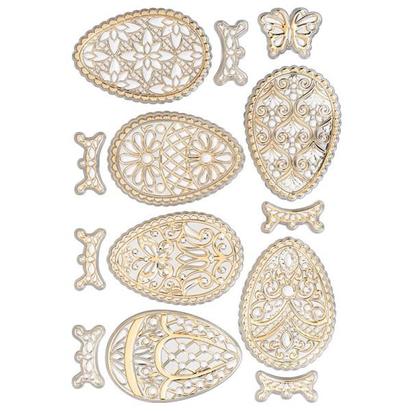 Relief-Sticker, Ostereier 1, DIN A4, metallic-hellgold, selbstklebend