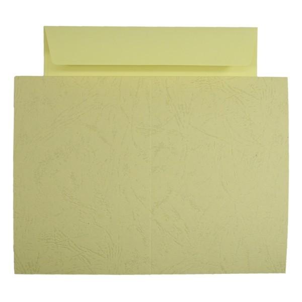 10er Grußkarten-Set, Lederprägung, C6, inkl. Umschläge, gelb