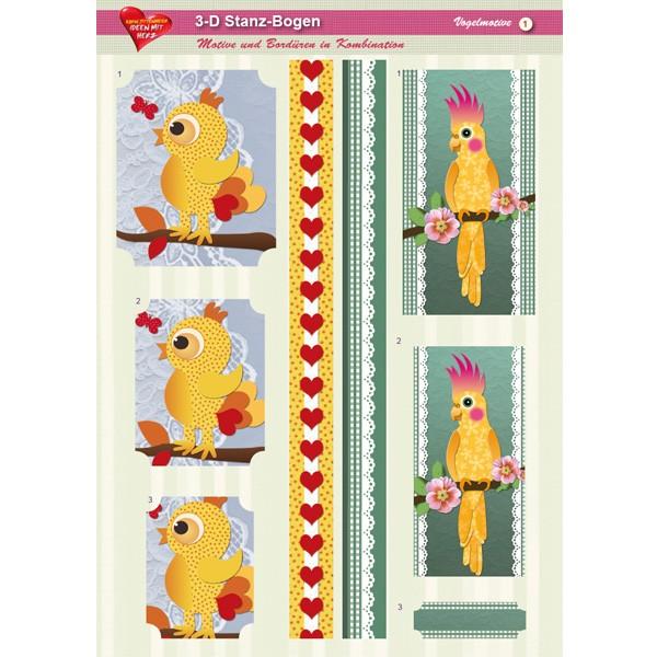 3-D Stanz-Bogen, Vögel, DIN A4, Motiv 1