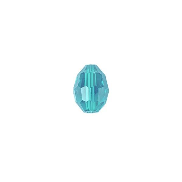 Perlen, Ovale, facettiert, 0,6cm x 0,8cm, türkisblau, 30 Stück