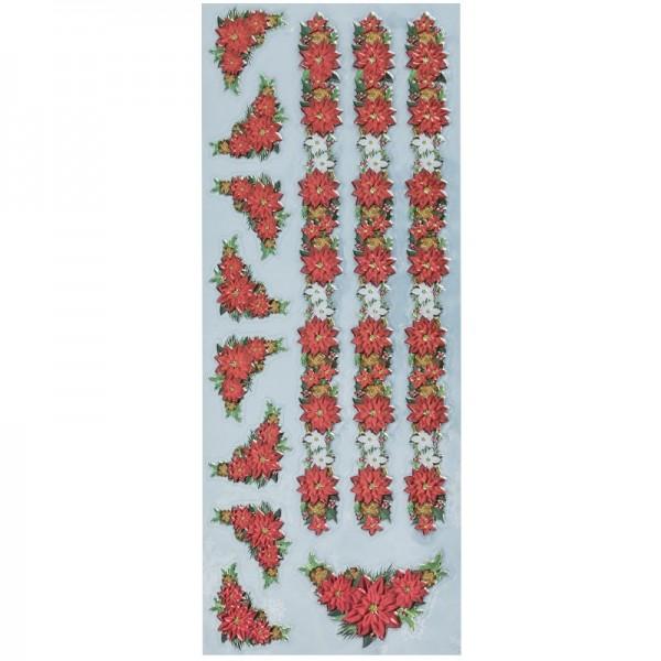 Metallic-Relief-Sticker, Weihnachtssterne 1, 12,5 x 30,5 cm