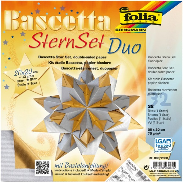 Bascetta Stern Set, DuoDesign, 15x15cm, 32 Blatt, gold/silber