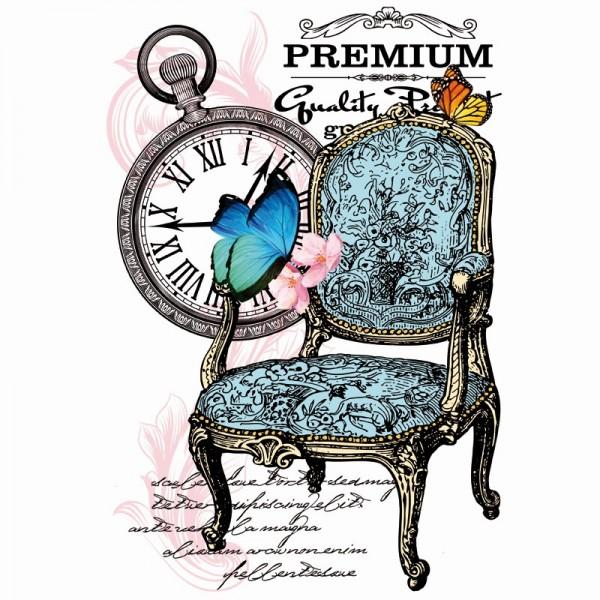 Color Bügeltransfer, DIN A4, filigran ohne Hintergund, Vintage, Sessel