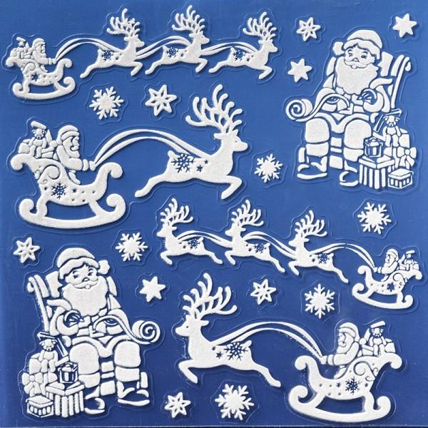 Laserglimmer-Sticker, Weihnachtsmänner, 18x18 cm, weiß