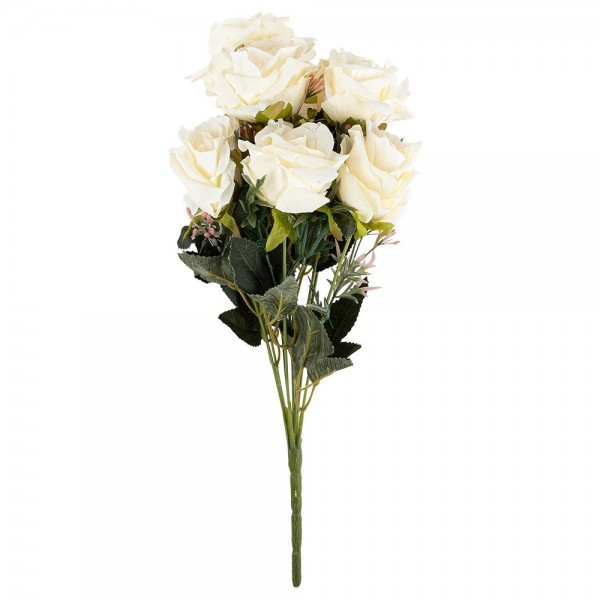 Blütenbusch, Elegante Rosen, 39cm lang, 9 große Blüten, Ø 7cm, weiß