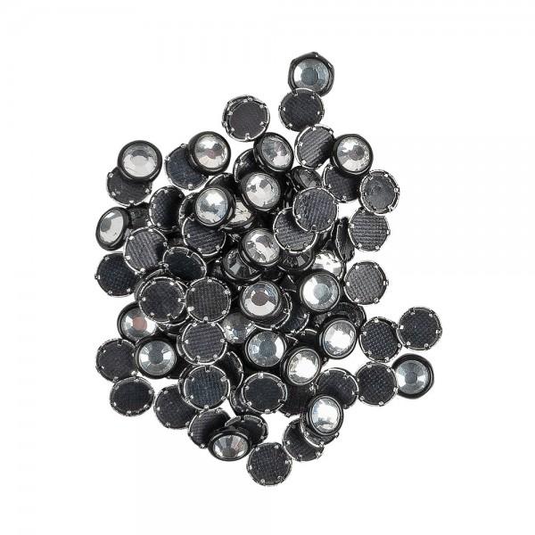 Hot-Fix Glas-Kristalle zum Aufbügeln, Ø 5mm, schwarz, 100 Stück