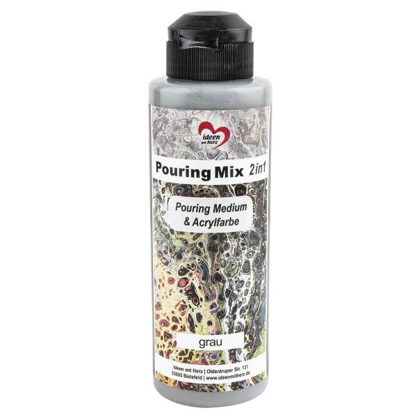 Pouring Mix, 2 in 1, Pouring Medium & Acrylfarbe, grau, 180ml
