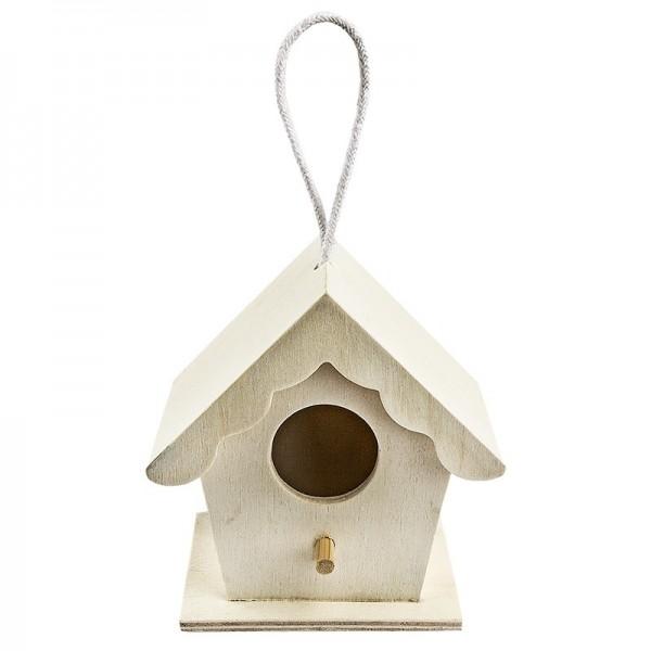 Vogelhäuschen aus Holz, Design 2, 9cm x 9cm x 6cm, mit Aufhängung