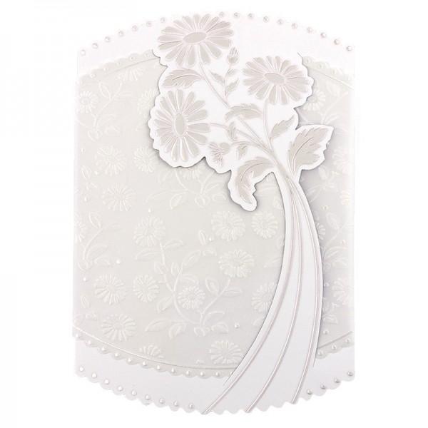 Exquisit-Grußkarten mit Top-Prägung, 16,9 x 11,7 cm, 10 Stück, weiß mit Transparentpapier