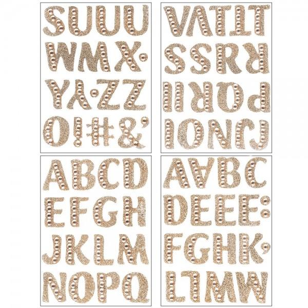 Glitzer-Sticker, Alphabet 2, 11cm x 15cm, hellgold, mit Schmucksteinen, 4 Bogen