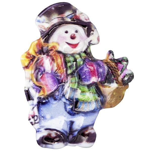 Wachsornament Fröhl. Schneemänner 5, farbig, geprägt, 6-8cm