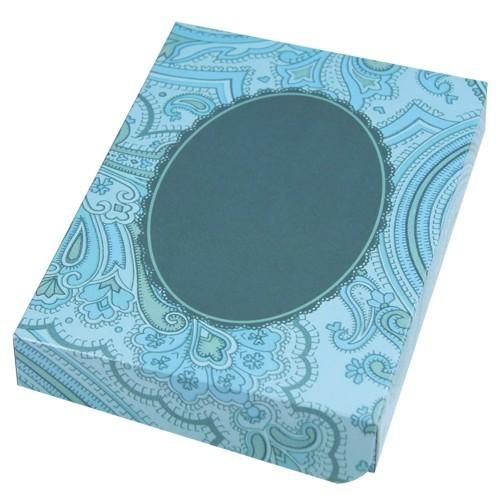 Geschenkbox, B6, Zierdeckchen, hellblau