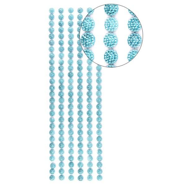 Halbperlen-Bordüren, Perlenblüte, 10cm x 30cm, selbstklebend, türkis
