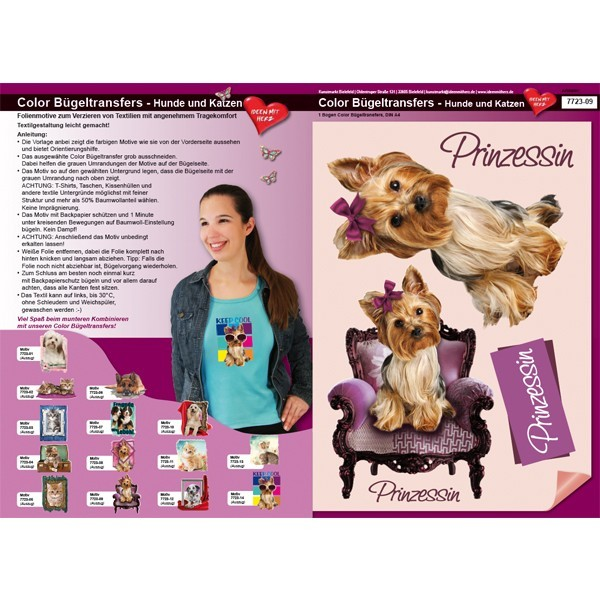 Color Bügeltransfers, DIN A4, Hund, Prinzessin