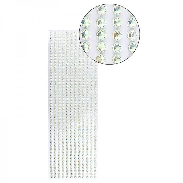 Schmuckstein-Bordüren, selbstklebend, facettiert, irisierend, Sechsecke Ø 5mm, 29cm, hellgrün