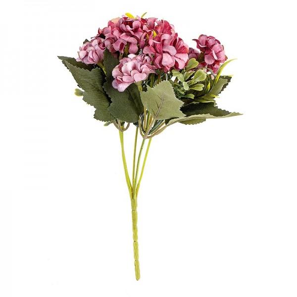 Blütenbusch, Hortensien 1, 27cm hoch, 9 große Blüten Ø 4cm, Pinktöne