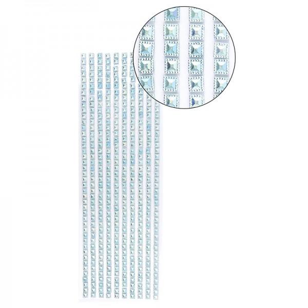 Schmuckstein-Bordüren, selbstklebend, facettiert, irisierend, Quadrate 6 x 6 mm, 29 cm, türkis