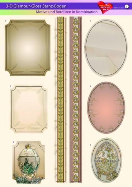 3-D GlamourGloss Bogen, Schmuck-Eier, DIN A4, Motiv 6