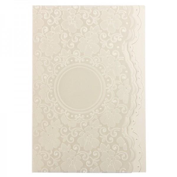 Exquisit-Grußkarten mit Top-Prägung, 16,9 x 11,7 cm, 10 Stück, natur mit Transparentpapier