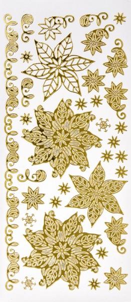 Sticker, Weihnachtssterne, Spiegelfolie, gold