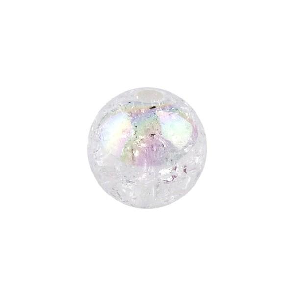 Perlen, Crackle, Ø 6mm, weiß-irisierend, 150 Stk.